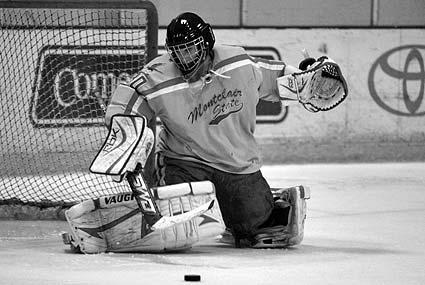 Montclair State goaltender Kevin Fox pad save