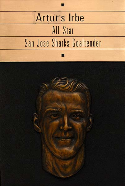 San Jose Sports Hall of Fame Sharks goaltender Arturs Irbe bronze plaque