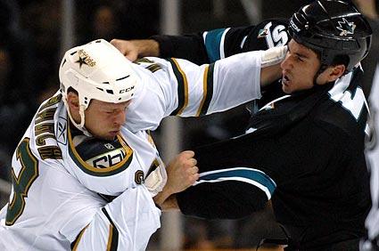 San Jose Sharks Brad Staubitz hockey fight Kris Barch