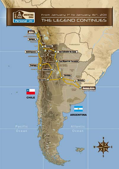 Dakar Rally 2011 offroad race Chile to Argentina course route