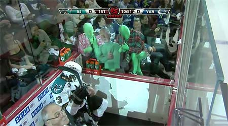 Vancouver Canucks Green Men vs Douglas Murray penalty box