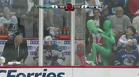 Vancouver Canucks Green Men vs Dany Heatley penalty box