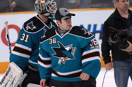 Sharks goaltending prospect J.P. Anderson congratulated Antti Niemi after his win over the Minnesota Wild Saturday