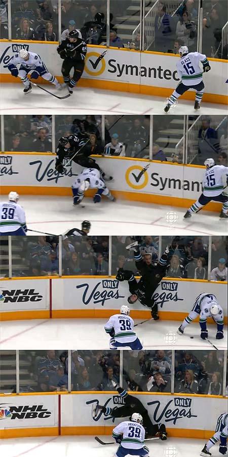 Western Conference Finals defenseman Keith Ballard low hit on Sharks forward Jamie McGinn sends him on an aerial cartwheel