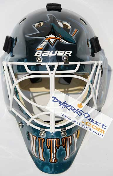 New Antero Niittymaki San Jose Sharks goalie mask design by David Arrigo