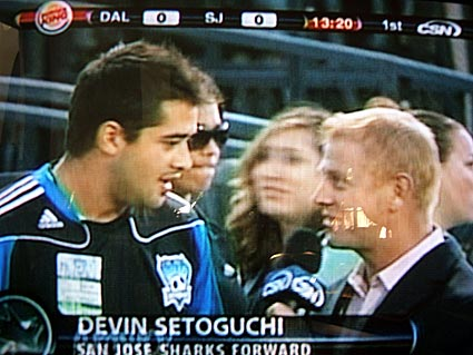 San Jose Sharks right wing Devin Setoguchi attends Earthquakes MLS game
