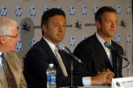Sharks President CEO Greg Jamison, Sharks GM EVP Doug Wilson, Sharks captain Rob Blake
