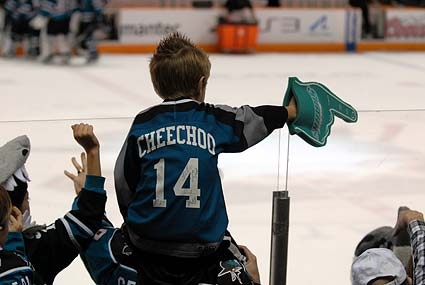 Young Sharks fan at San Jose vs Minnesota Wild game