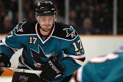 San Jose Sharks center Torrey Mitchell player of the game Calgary Flames