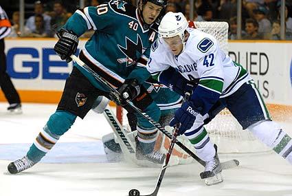 San Jose Sharks Vancouver Canucks preseason Kent Huskins Bill Sweatt