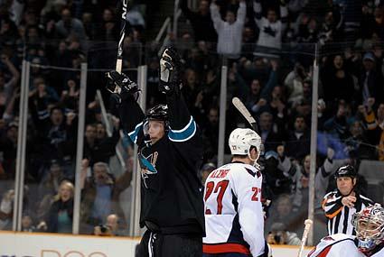 San Jose Sharks right wing Dany Heatley celebrates game winning goal over Washington Capitals