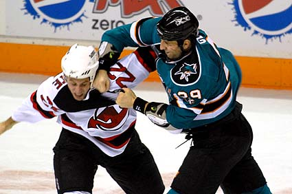 San Jose Sharks New Jersey Devils hockey fight Ryane Clowe Matt Corrente