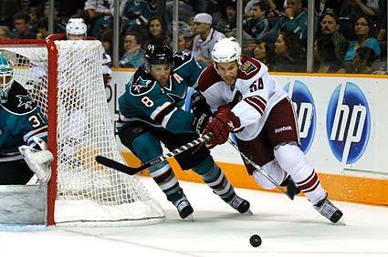 San Jose Sharks split squad NHL preseason game Phoenix Coyotes Joe Pavelski Bracken Kearns