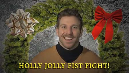San Jose Sharks defenseman holiday sweater video Ryane Clowe fist fight