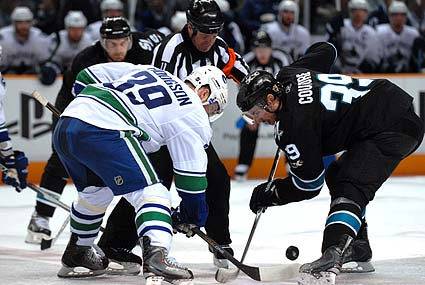 NHL Stanley Cup Finals San Jose Sharks center Logan Couture Vancouver Canucks Cody Hodgson faceoff